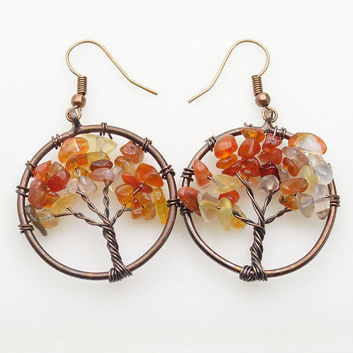 Red Agate Tree of Life Earrings