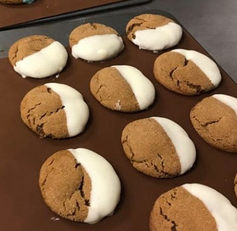White Chocolate Covered Gingersnap Cookie