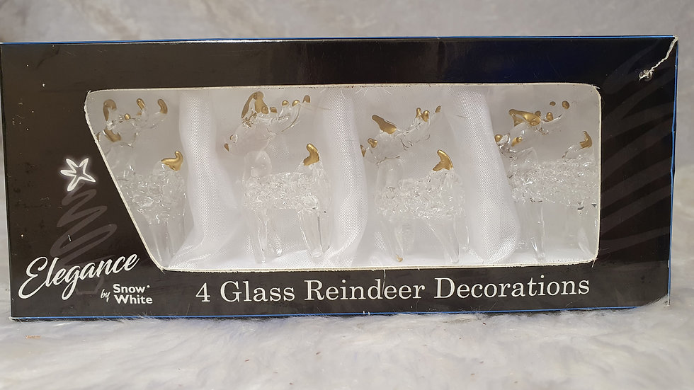4 Glass Reindeer Decorations