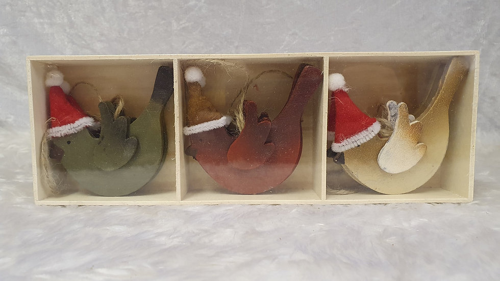 Boxed set of wooden birds