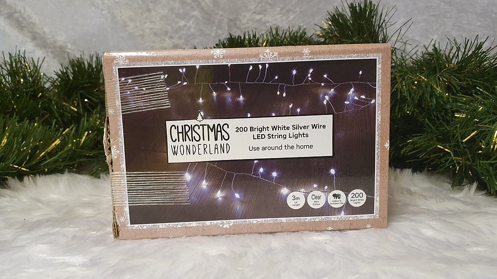 Christmas Wonderland 200 silver wire string lights