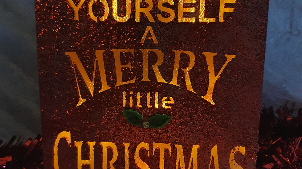 Red Glitter LED Xmas Message
