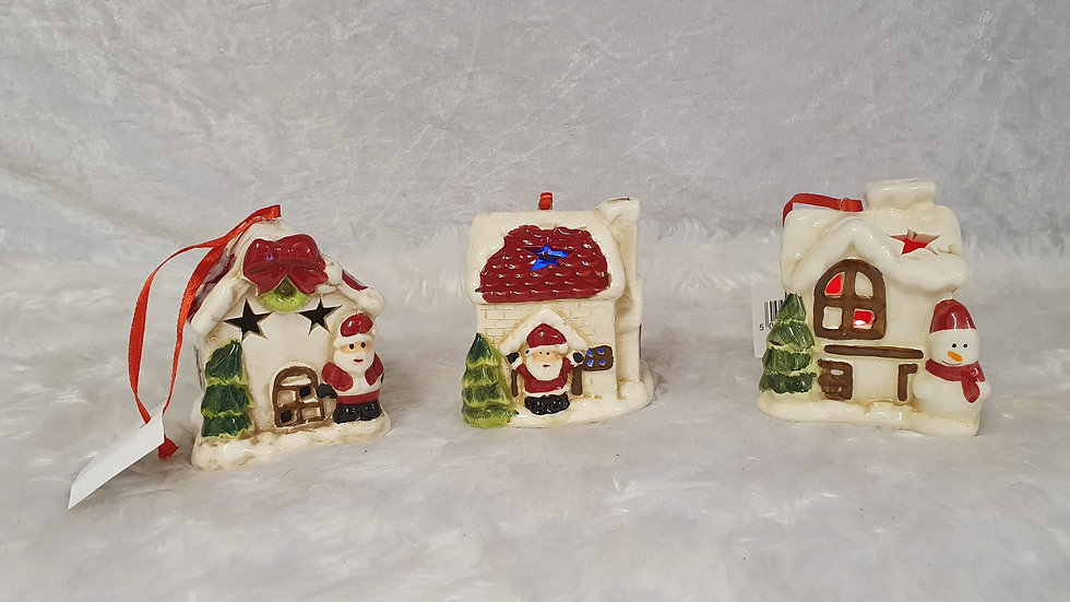 Ceramic light up houses