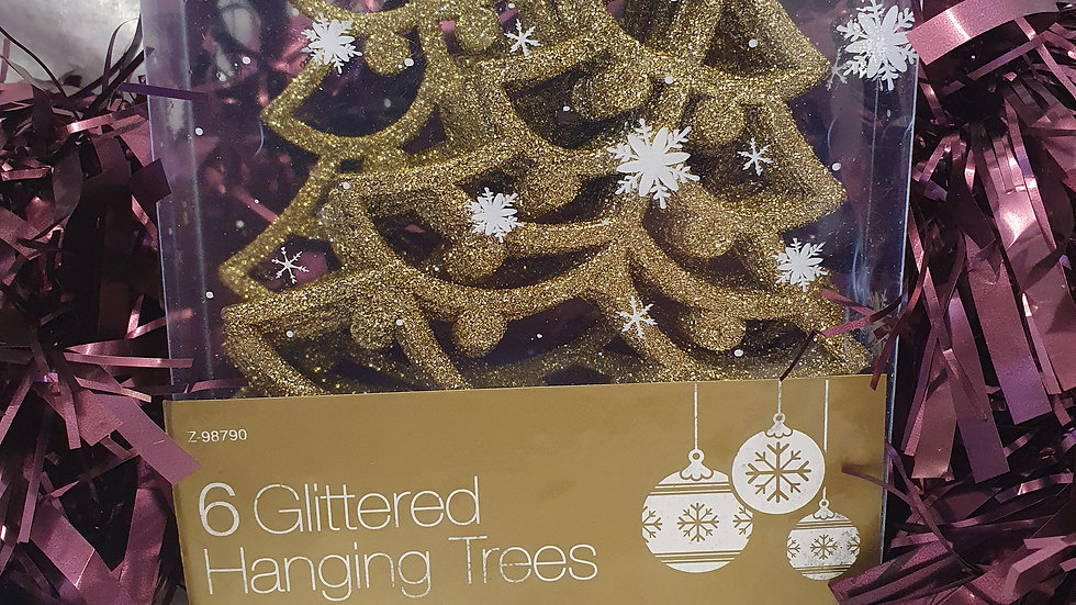 Gold Glitter Hanging Trees