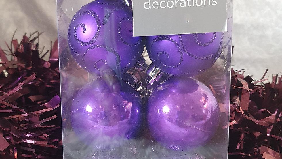Premier Set of 16 Purple Baubles