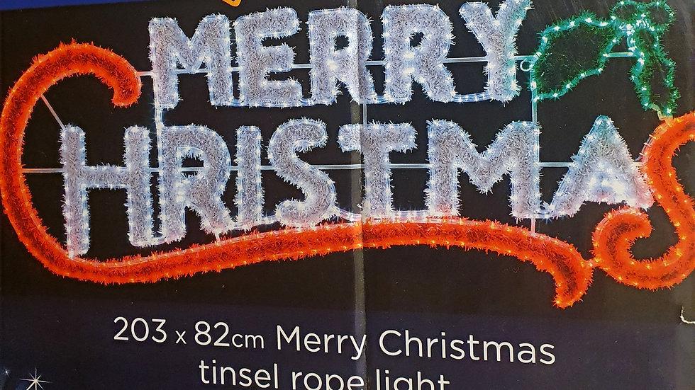 Premier Merry Christmas Tinsel Rope Light