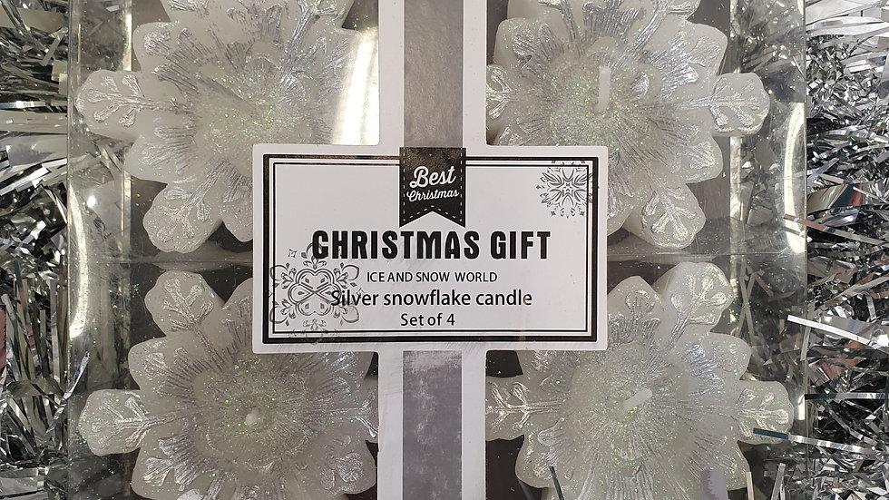 B&Q Silver Snowflake Candle set
