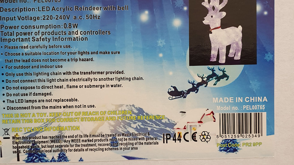 Pro-Elec led acrylic reindeer with bell