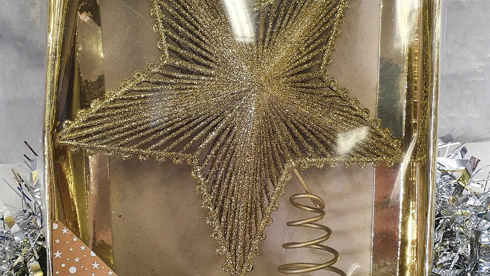 Christmas World Gold Star Tree Topper