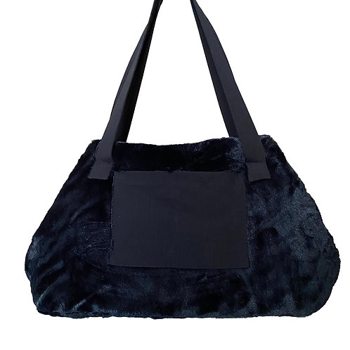 Bali Bag Siyah Kürklü Evcil Hayvan Çantası