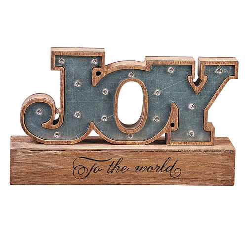 Joy To The World Table Art Light Up