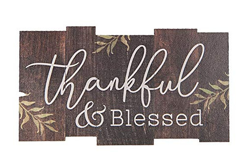 Thankful & Blessed Dark Brown Lath Look 3.5 x 2 Wood Inspirational Magnet