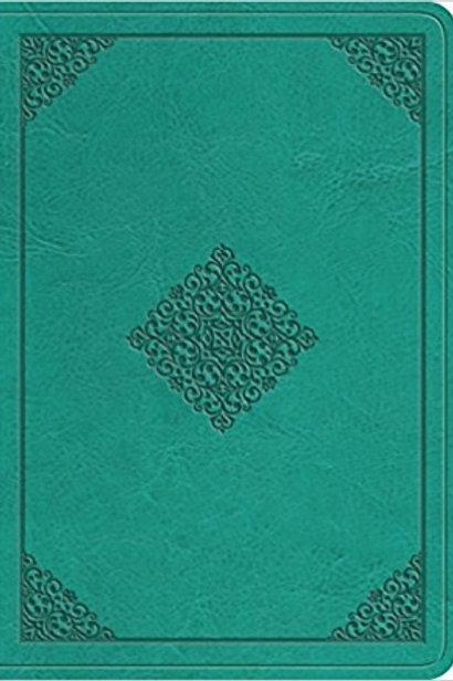 ESV Value Compact Bible/Large Print-Teal Ornament Design TruTone