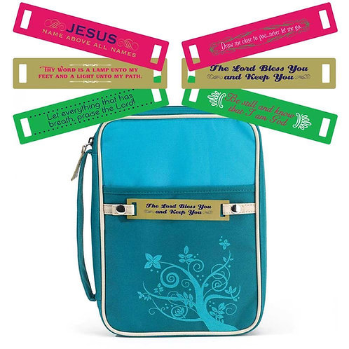 TURQUOISE CHANGEABLE TAG BIBLE COVER