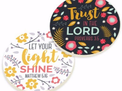 Trust In The Lord Let Your Light Shine Car Coaster by P Graham Dunn