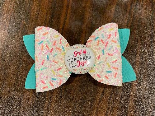 Cupcakes & Jesus Hair Bow, Glitter