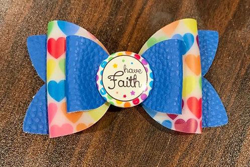 Have Faith Hair Bow, Hearts