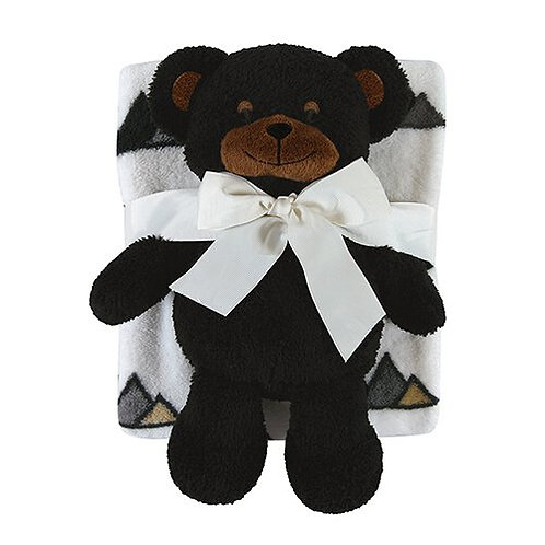 Plush Black Bear with Jesus Loves You Beary Much on Feet with Blanket