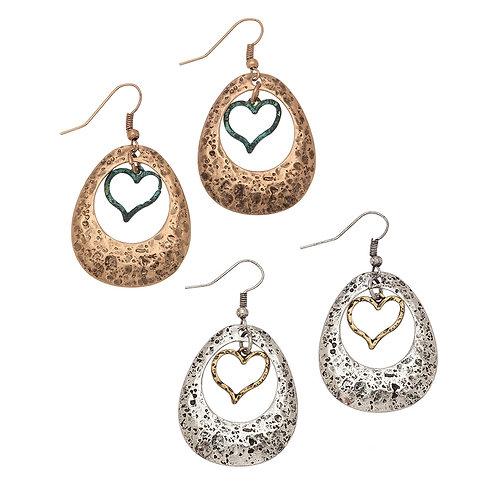 Heart Drop Earrrings in Silver or Rose Gold