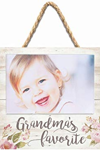 Grandma's Favorite Photo Frame 7x7 Distressed Wood and Watercolor florals