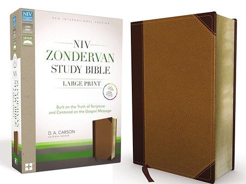 NIV ZONDERVAN STUDY BIBLE, LARGE PRINT, LEATHERSOFT, BROWN/TAN