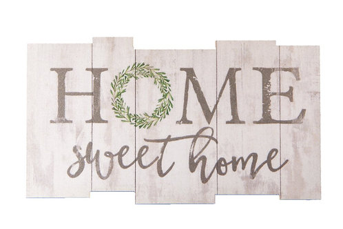 Home Sweet Home Whitewash Lath Look 3.5 x 2 Wood Inspirational Magnet