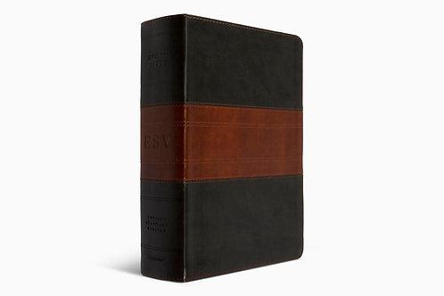 ESV Study Bible Large Print Trutone, Forest/Tan Trail Design