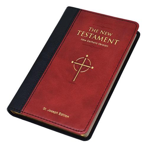 New Catholic Version St. Joseph Edition Pocket Size New Testament-Burgundy Dura-Lux Imitation Leather