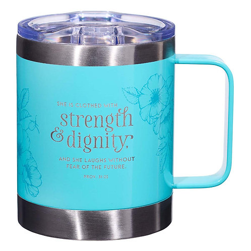 Stainless Steel Mug She Is Clothed With Strength Prov 31:25 Teal by Christian Art Gifts