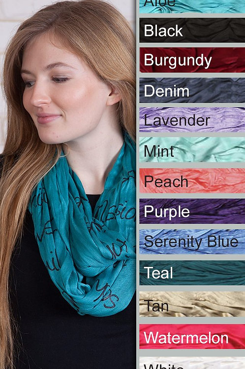 I Am A Daughter of God Infinity Scarf in Serenity Blue