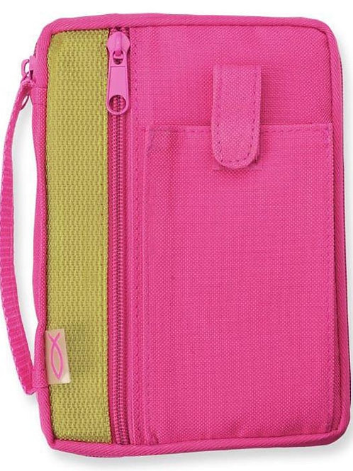 Bible Cover Extra Small Canvas in Fuchsia/Lime