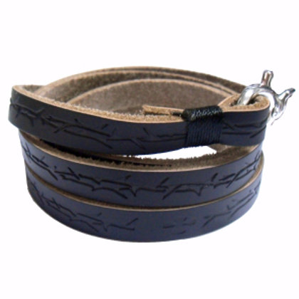 Black Leather Bracelet Stamped with Thorns by Forgiven Jewelry