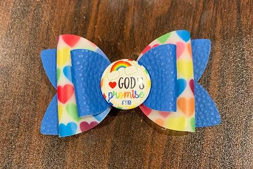 God's Promise Hair Bow, Blue