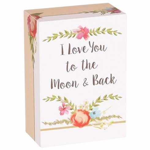 Love You To The Moon & Back-Wood Composite Block