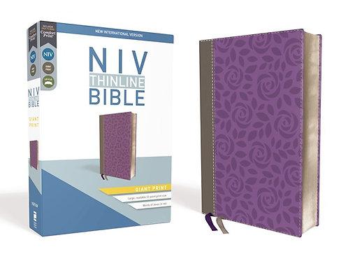 NIV Thinline Bible Giant Print Purple/Gray Leathersoft