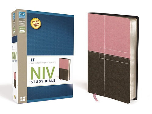 NIV Study Bible Pink and Brown Leathersoft
