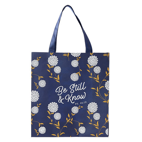 Be Still And Know Flowered Tote Bag