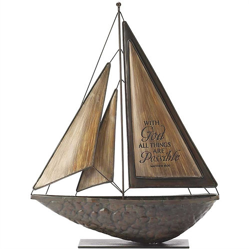 With God All Things Are Possible Sailboat