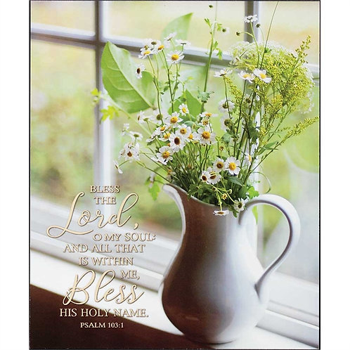 Bless The Lord Oh My Soul Wall Art Pictured with Daisies  PLK1012-268