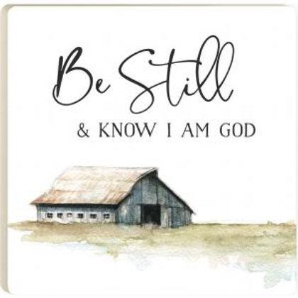 Be Still & Know I Am God Ceramic Coaster by P Graham Dunn