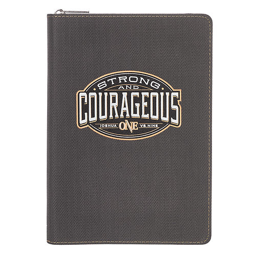 Strong And Courageous Journal With Zipper Closure