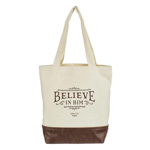 Believe In Him Canvas Tote Bag with Faux Leather Base