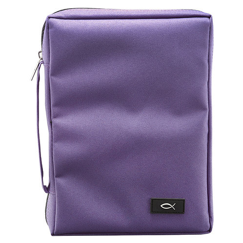 Polyester Canvas with Fish Badge in Purple Bible Cover Large