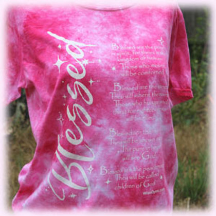Pink Blessed T-shirt by Wisedyes Matthew 5:16