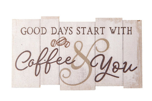 Good Days Coffee & You Whitewash Lath Look 3.5 x 2 Wood Inspirational Magnet