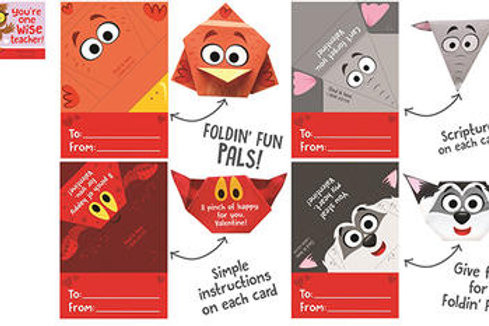 Foldin' Fun Pals! 32 PaperCraft Valentines (Including teacher card)