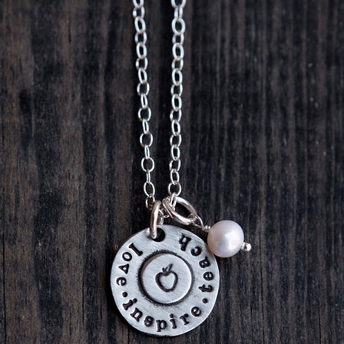 Love Inspire Teach Necklace   by Vintage Pearl