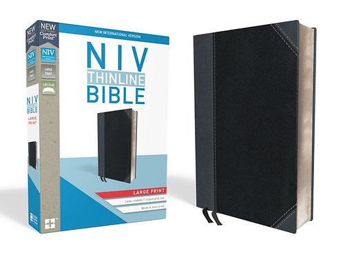 NIV Thinline Bible Large Print Black and Gray