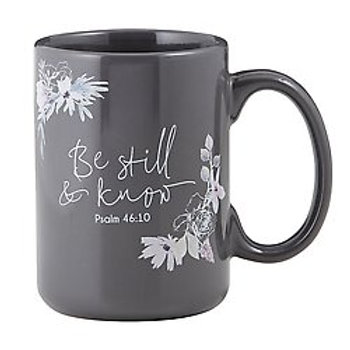 Be Still & Know Gray Mug with Flowers