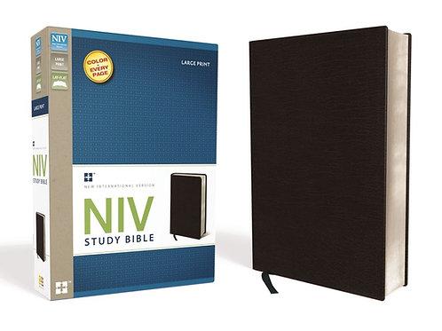 NIV Study Bible Large Print Black Bonded Leather